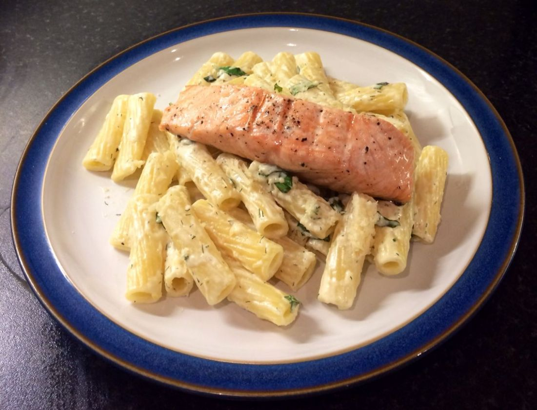 Lemon dressed pasta with Salmon, James Martin's recipe. Simply ...