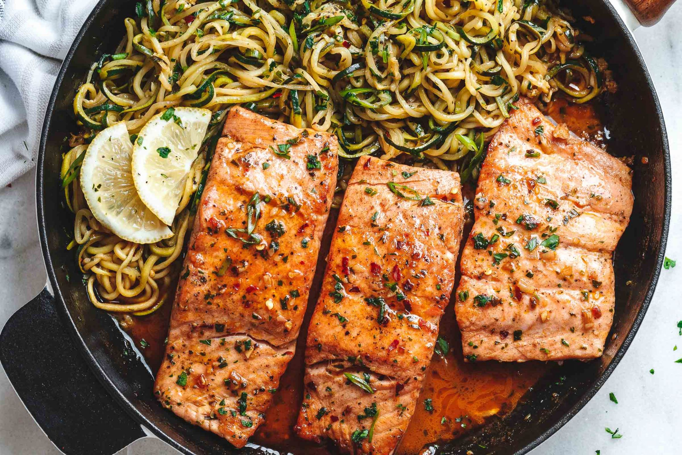 Lemon Garlic Butter Salmon with Zucchini Noodles - Fish Recipes With Zucchini