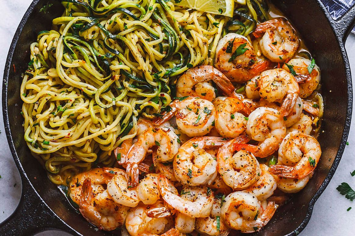 Lemon Garlic Butter Shrimp with Zucchini Noodles (10-Minute ) - Healthy Dinner Recipes Zucchini Noodles