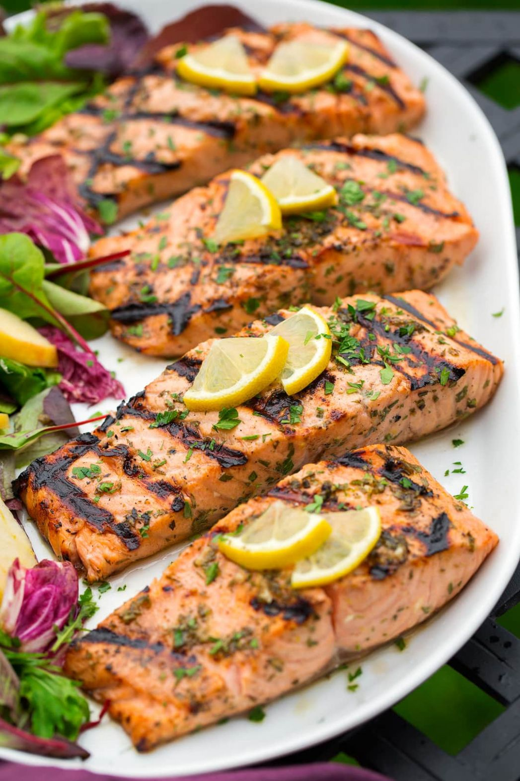 Lemon Garlic Herb Grilled Salmon - Recipes Fish Salmon