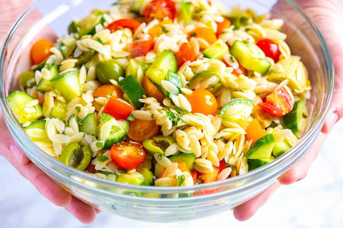 Lemon Orzo Pasta Salad with Cucumbers and Olives