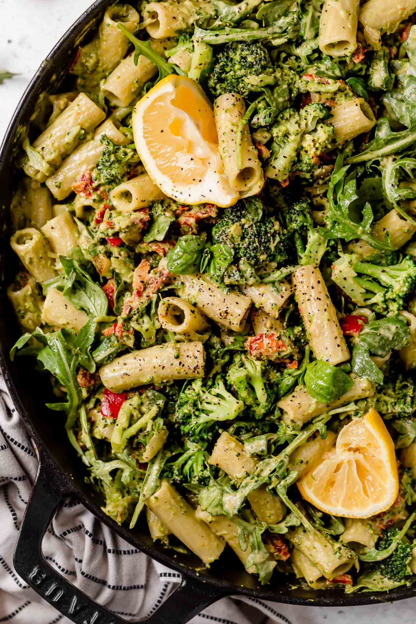lemony basil creamy vegan pasta with broccoli & sundried tomatoes