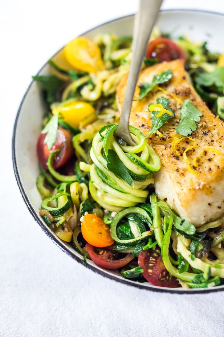 Lemony Zucchini Noodless with Halibut