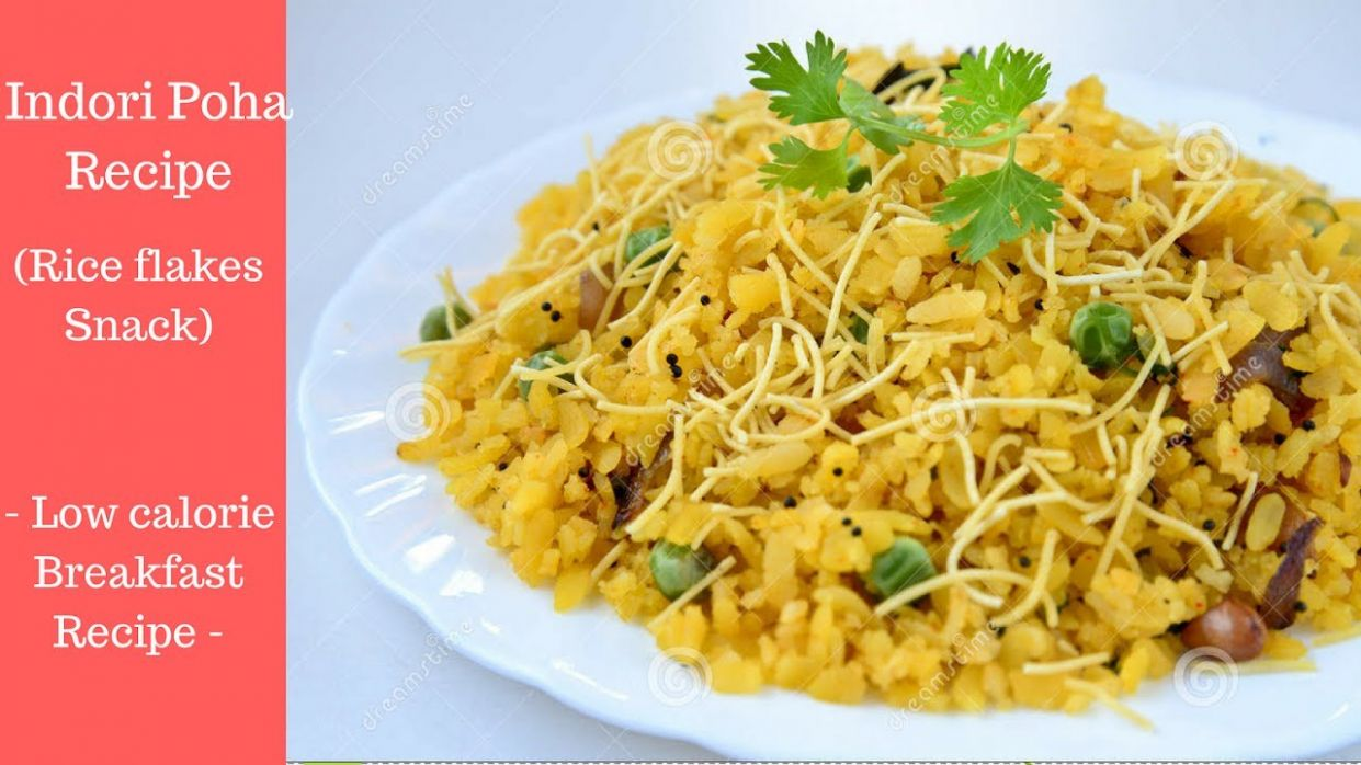 Low calorie snack Recipe for Family - Poha (Rice flakes Snack ..