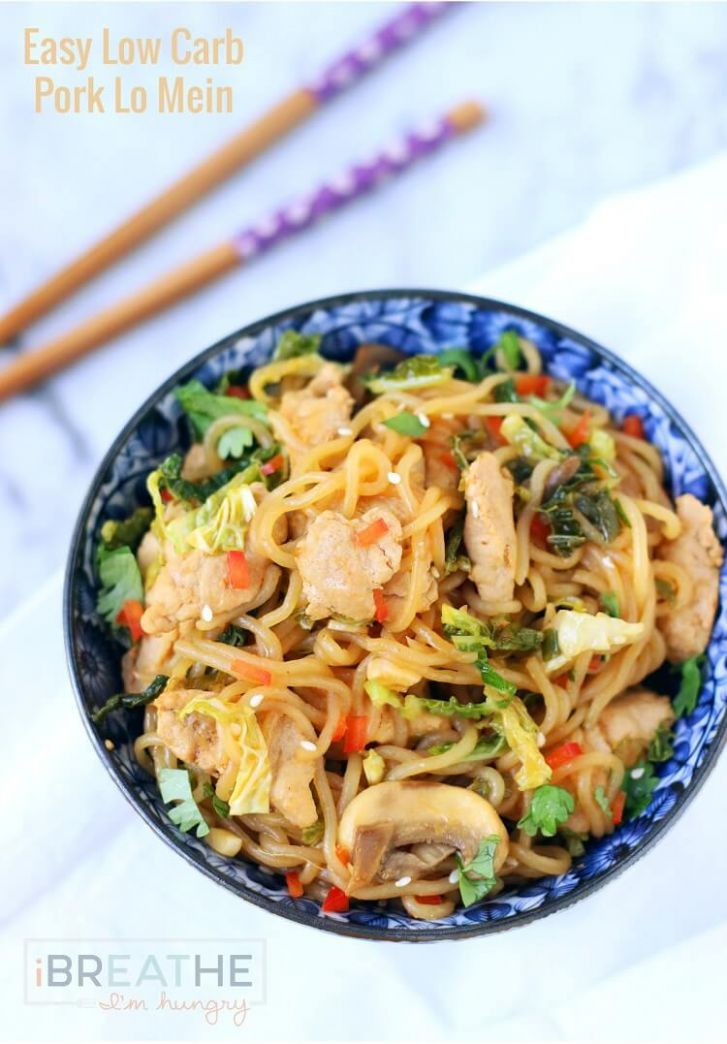 Low Carb Pork Lo Mein Recipe | I Breathe I'm Hungry