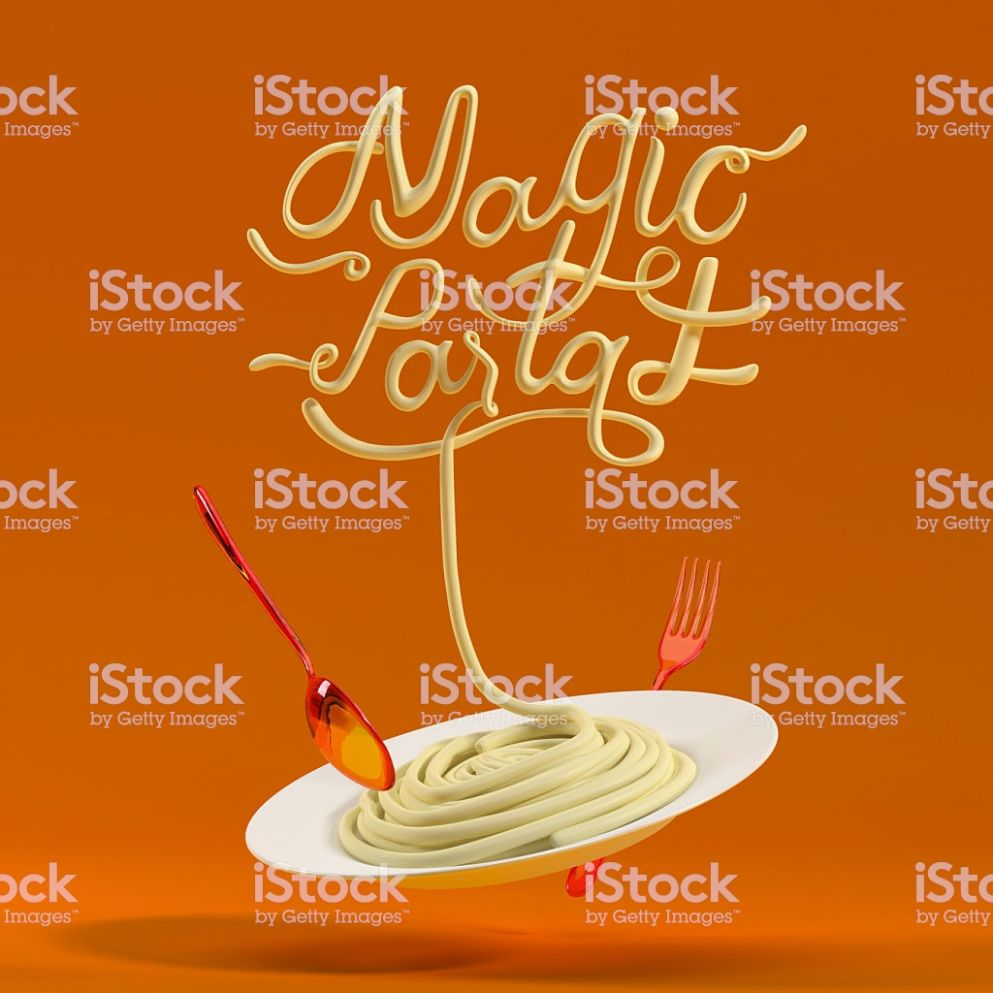 Magic Pasta Quote With Spoon And Fork 11d Rendering Stock Photo ...