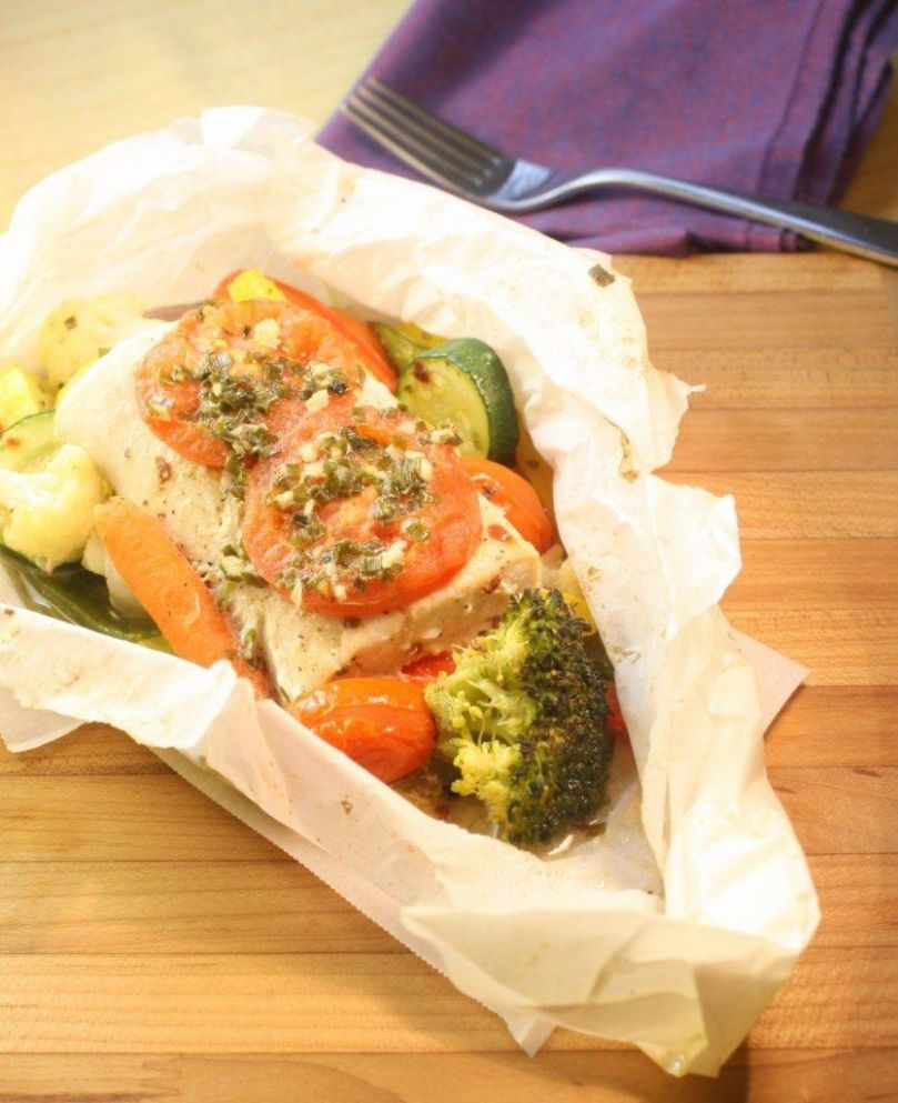 Mahi Mahi with Vegetables & Garlic-Chive Butter