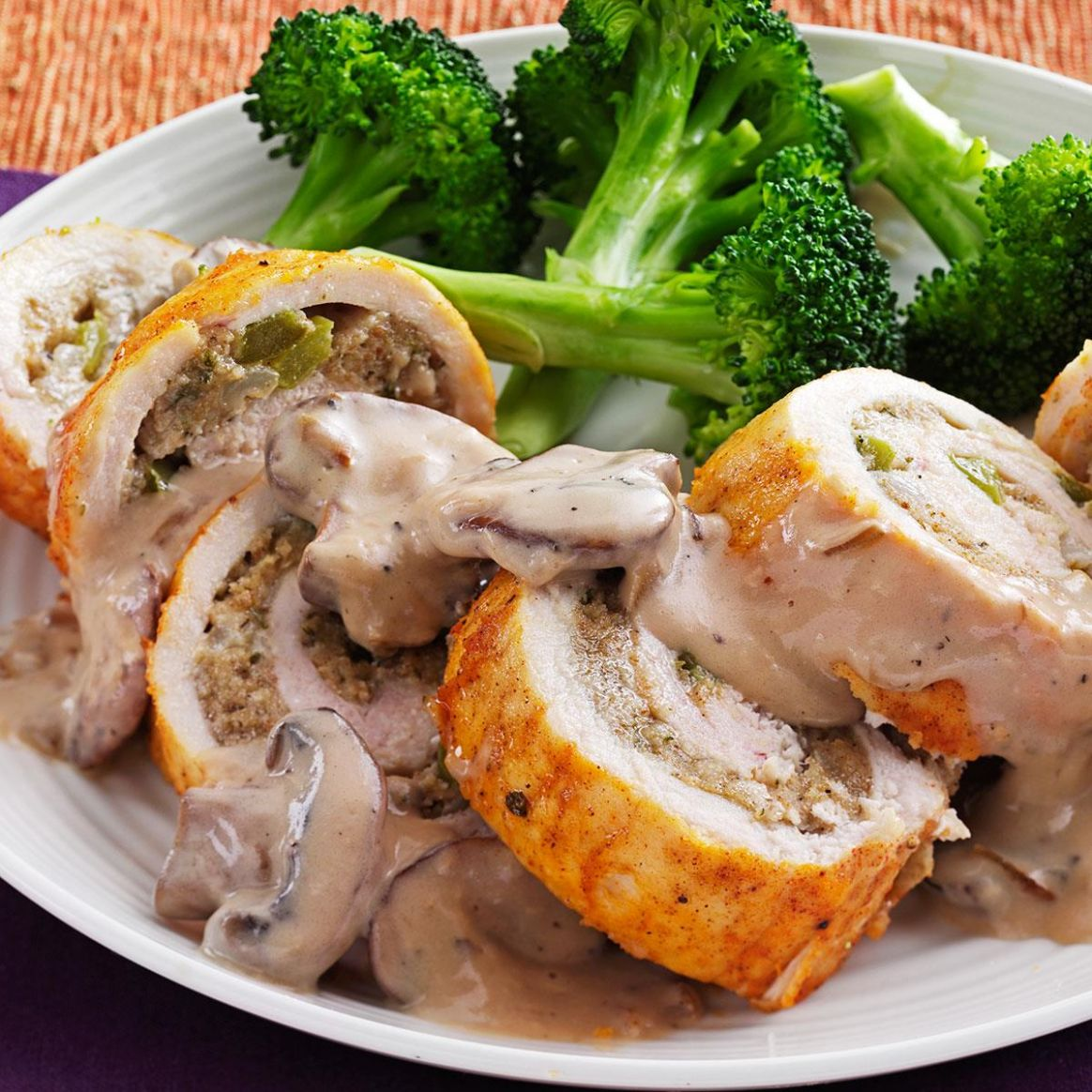 Makeover Stuffed Chicken Breasts with Mushroom Sauce - Recipe Chicken Breast With Mushroom Sauce