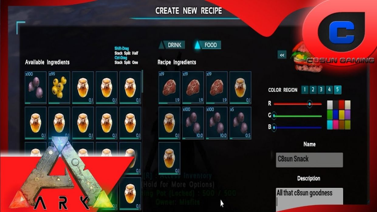 Making Custom Recipes & Gathering all the items - Ark: Survival Evolved - Food Recipes Ark