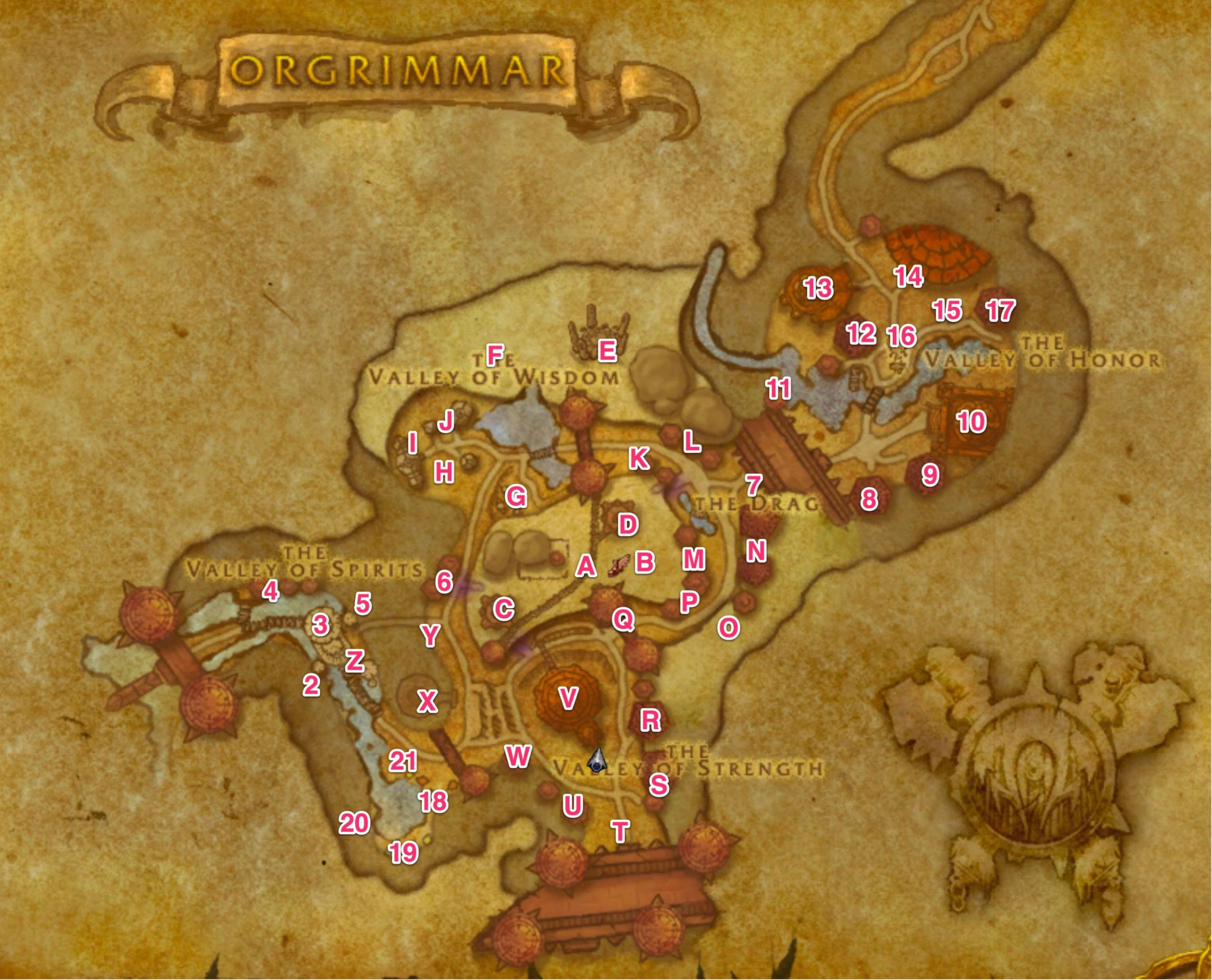 Map of Orgrimmar Vendors, Trainers and NPCs