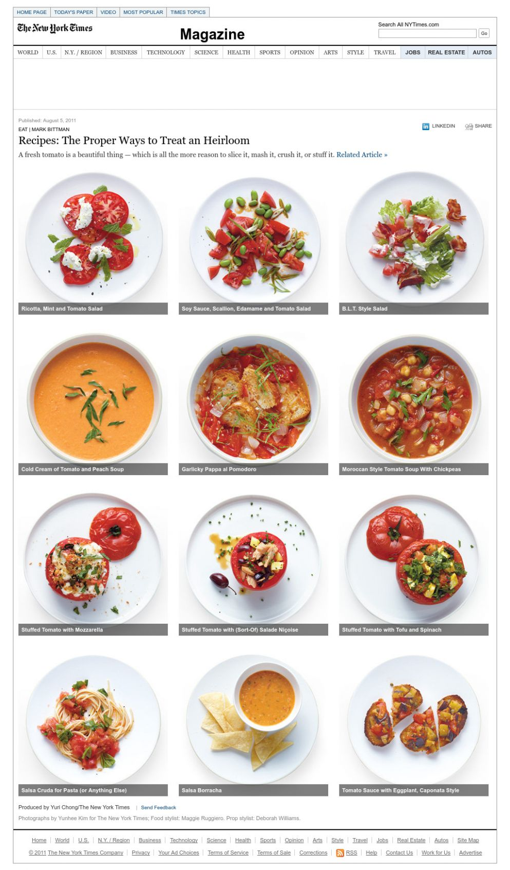 Mark Bittman - Recipes: Summer Tomatoes - Interactive Feature ...