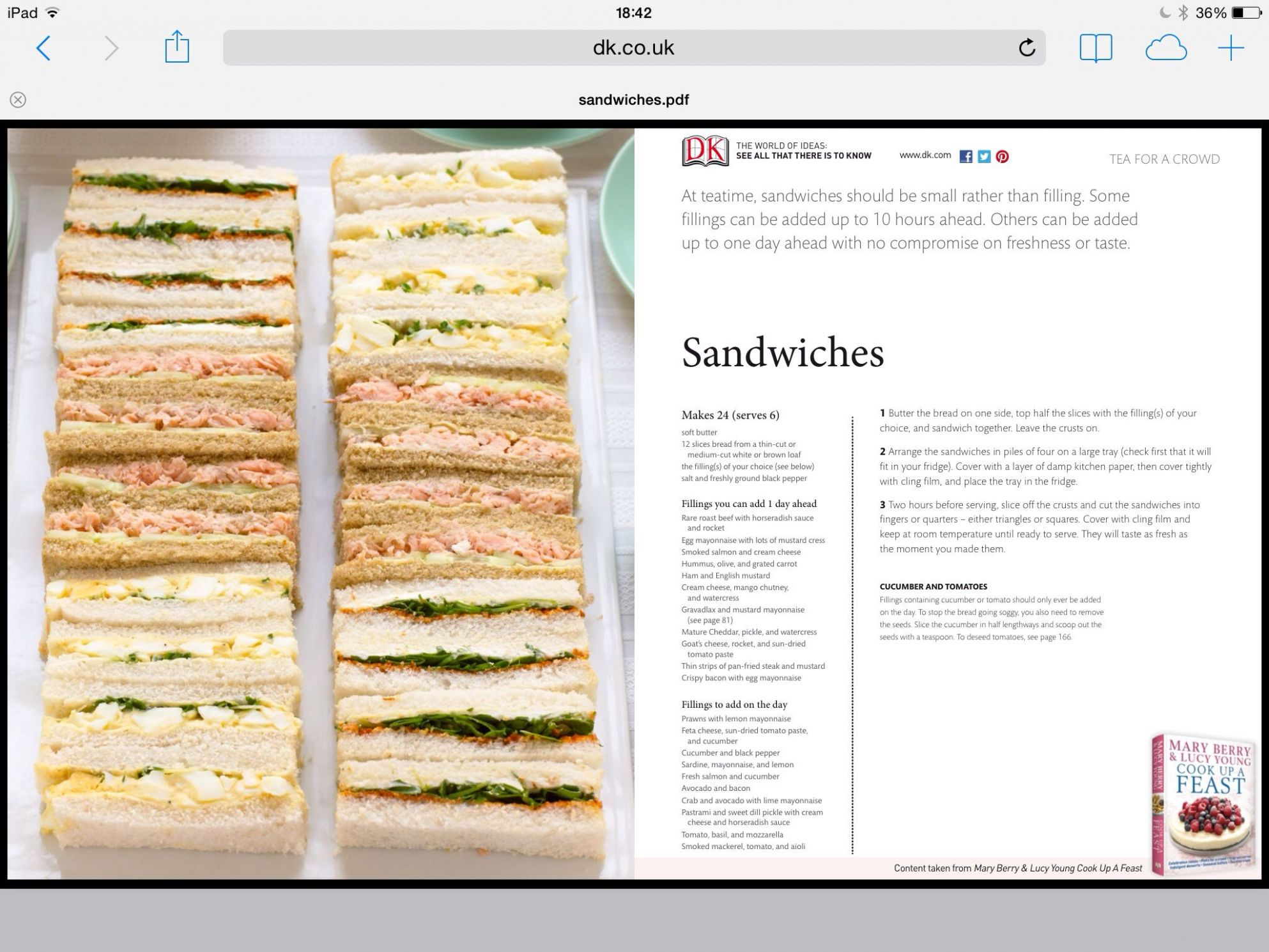 Mary Berry Tea Party Sandwiches | Mary berry sandwiches, Mary ..