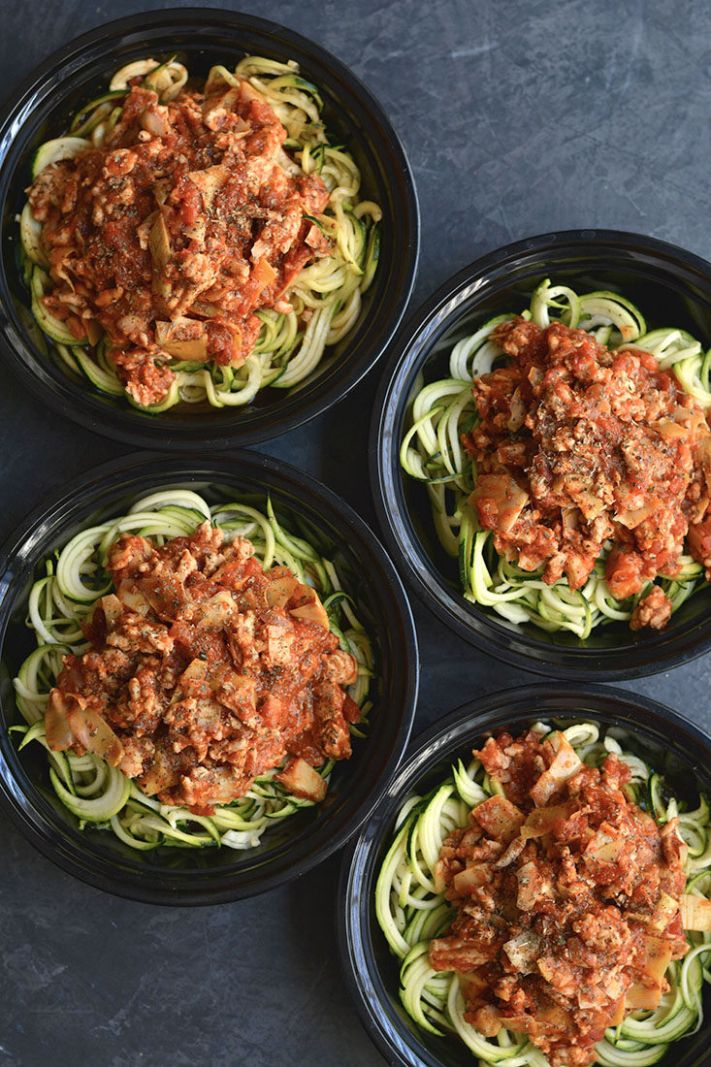 Meal Prep Bolognese with Zucchini Noodles Paleo, GF, Low Cal - Healthy Zoodle Recipes For Weight Loss