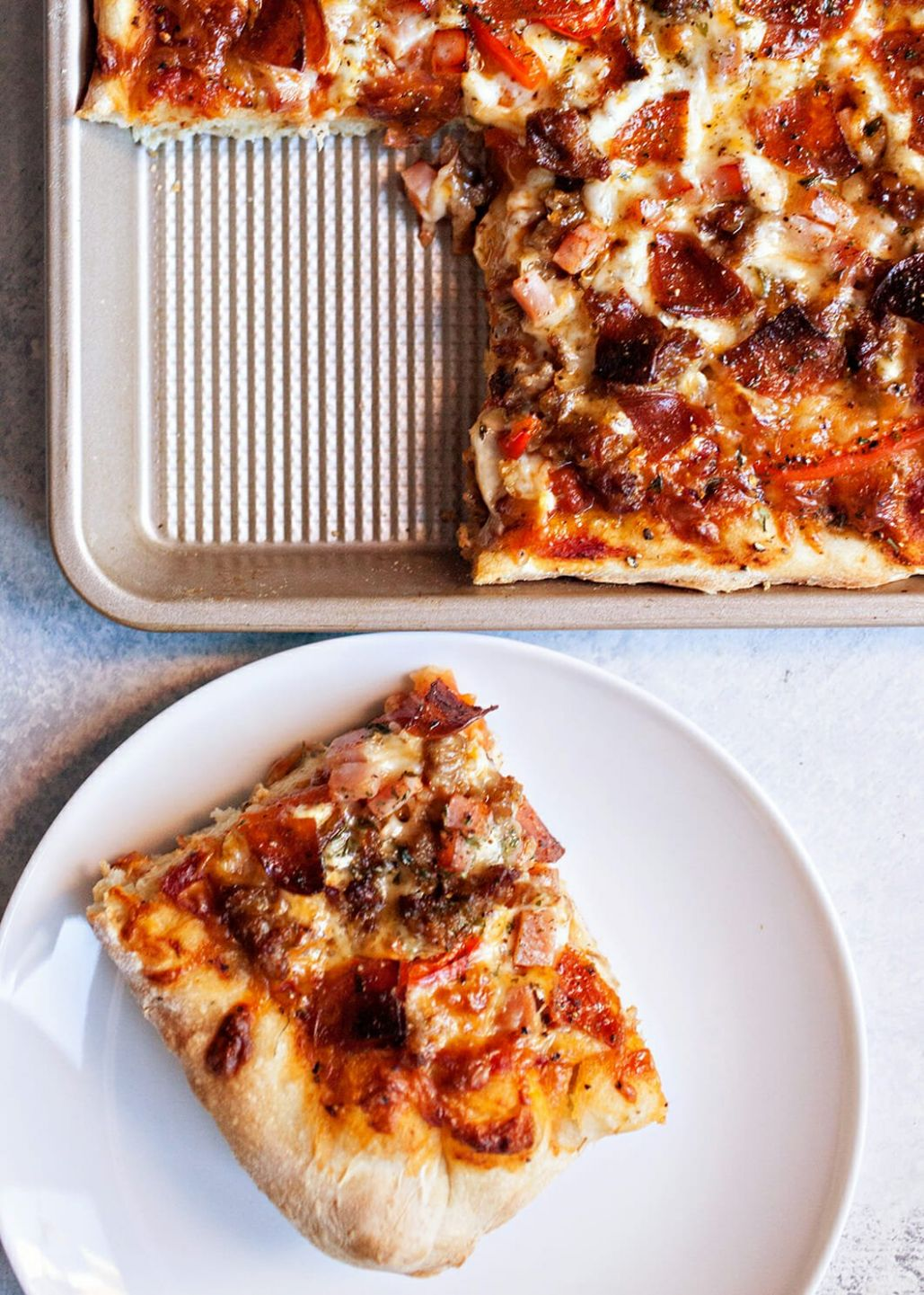 Meat Lovers' Sheet Pan Pizza - Pizza Recipes Meat Lovers