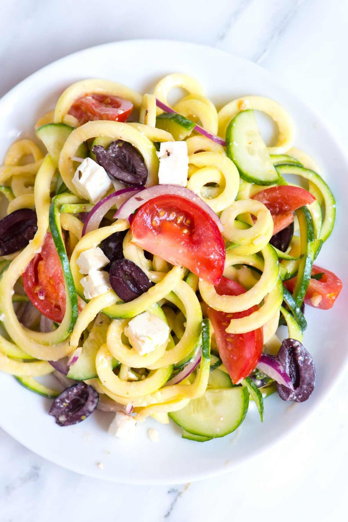 Mediterranean Zucchini Noodles Salad - Salad Recipes With Zucchini Noodles