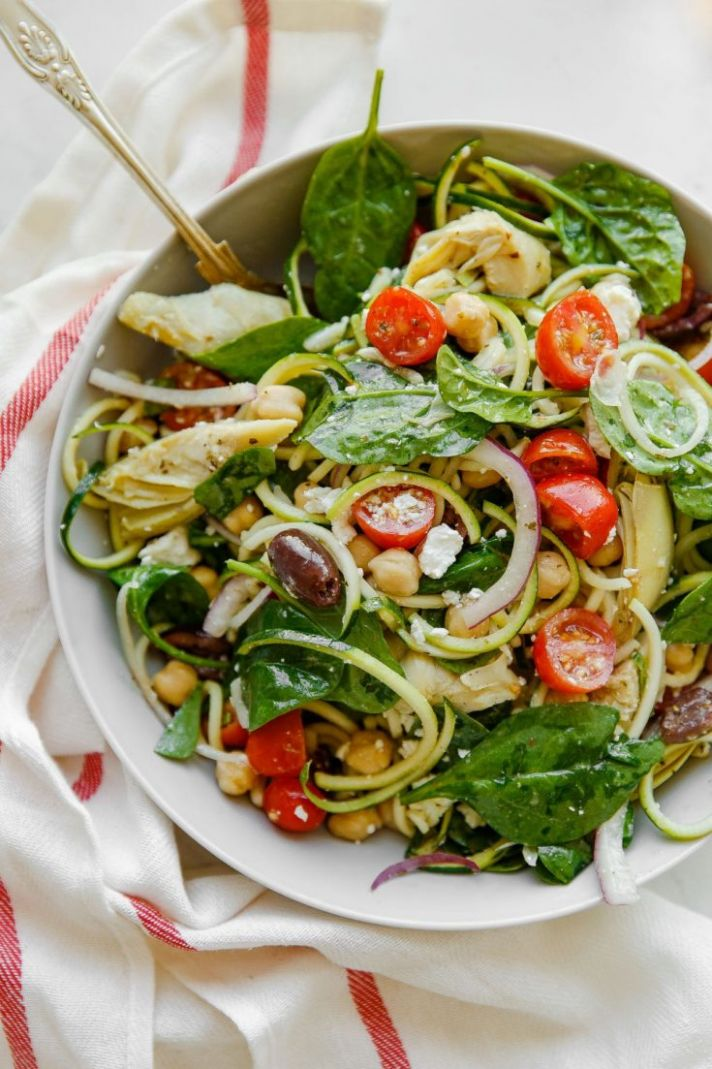Mediterranean Zucchini Pasta Salad - Salad Recipes With Zucchini Noodles
