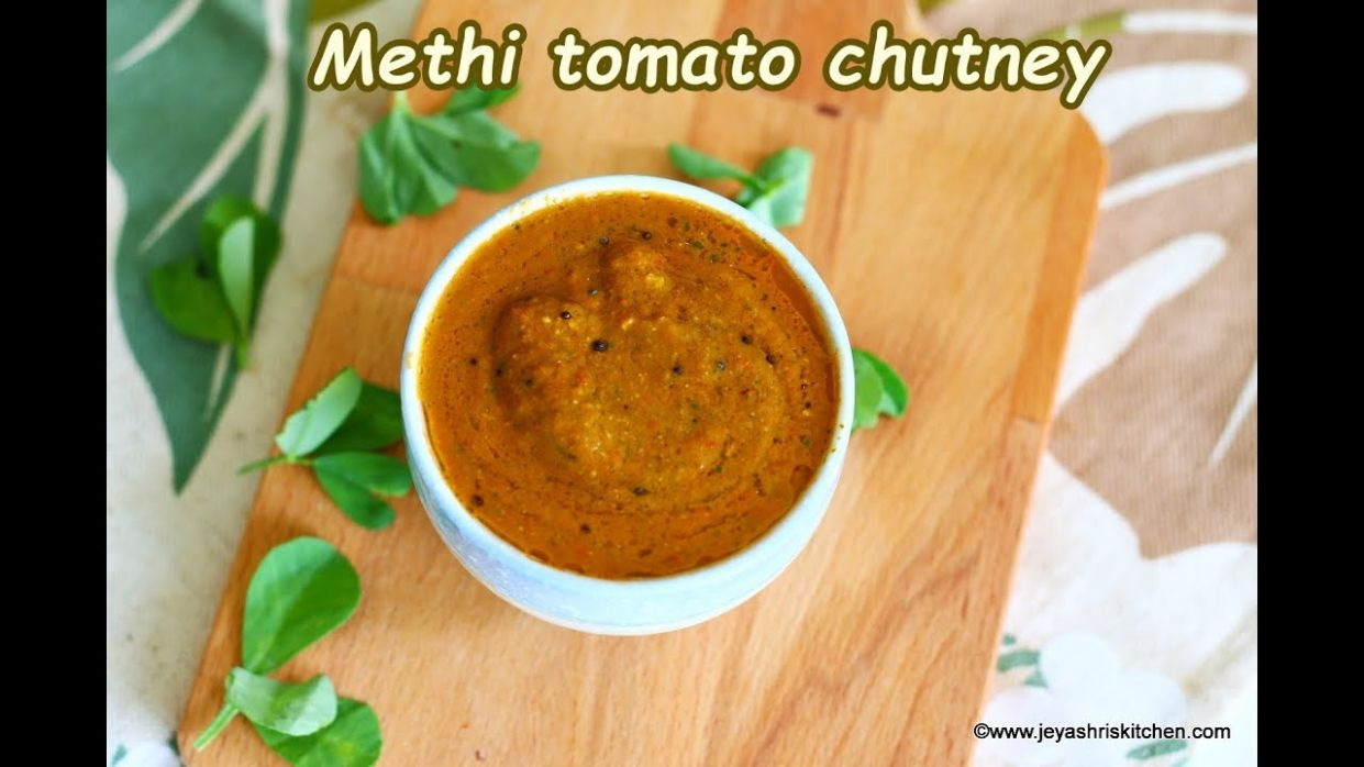 Methi leaves Tomato Chutney recipe - Jeyashri's Kitchen