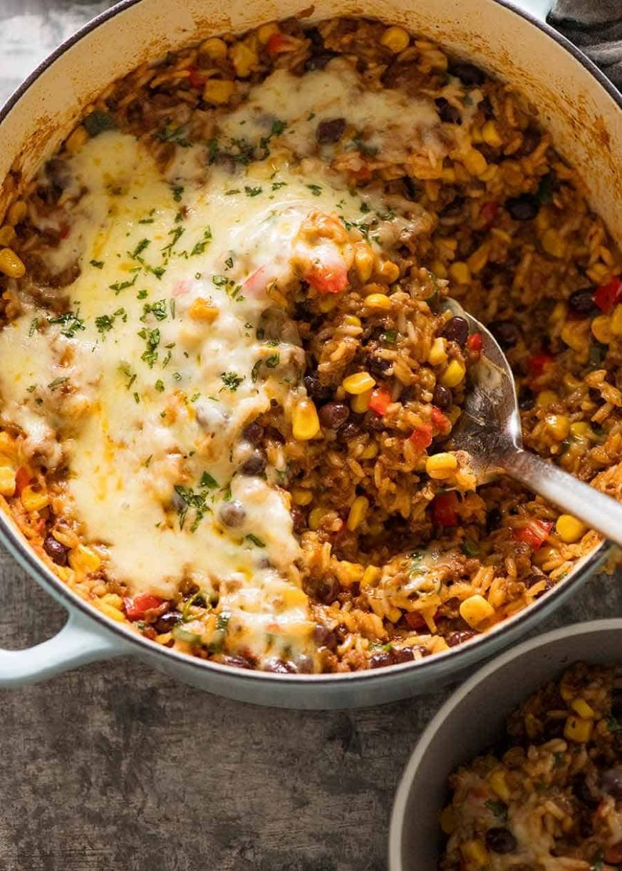 Mexican Ground Beef Casserole with Rice (Beef mince!) - Recipes Rice Ground Beef Casserole