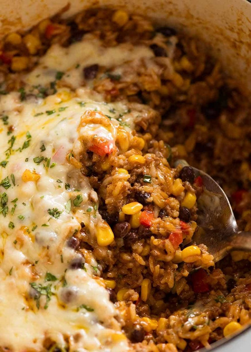 Mexican Ground Beef Casserole with Rice (Beef mince!) - Recipes Rice Ground Beef