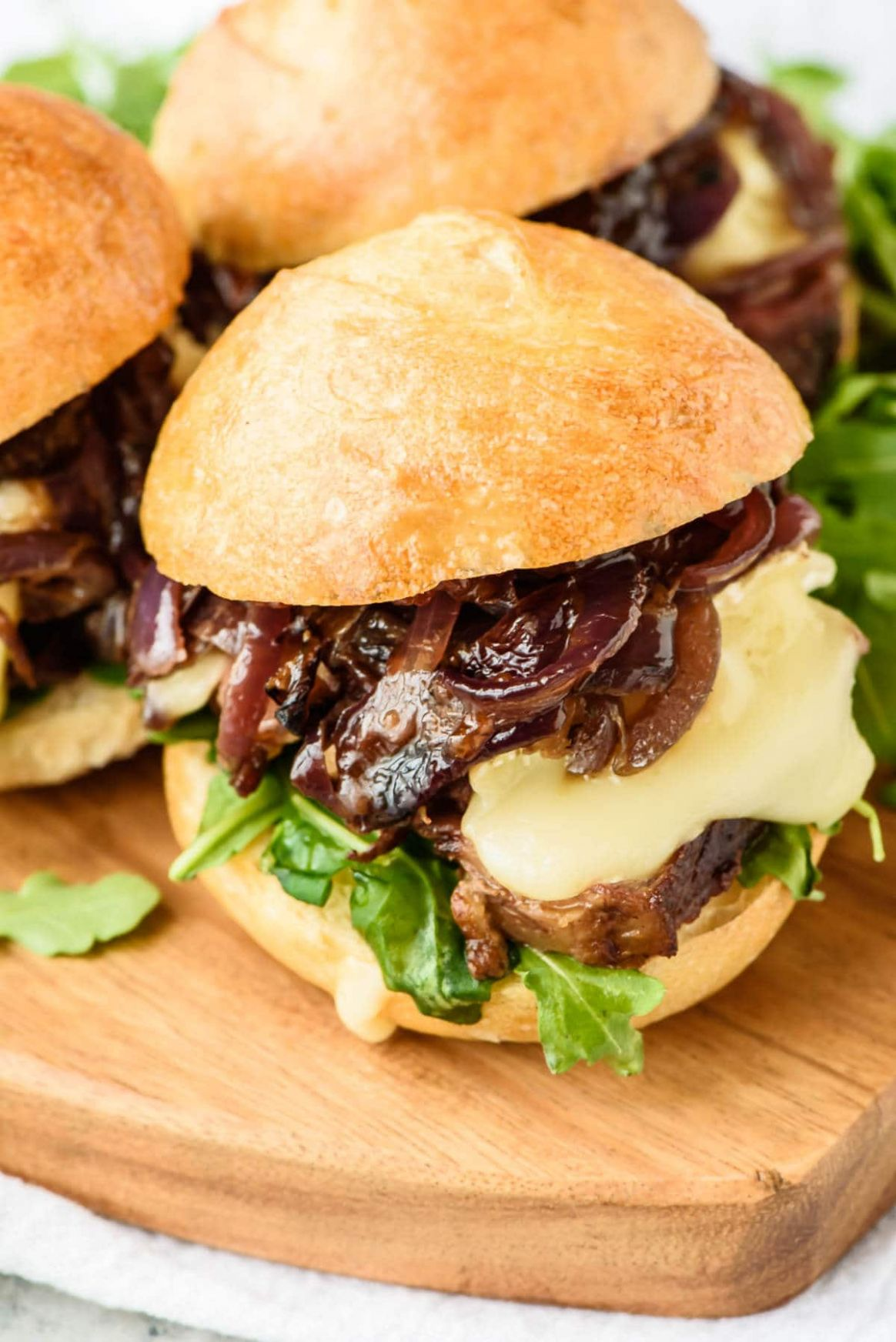 Mini Steak Sandwich with Brie, Caramelized Onions, and Fig Jam - Recipes With Sandwich Steak