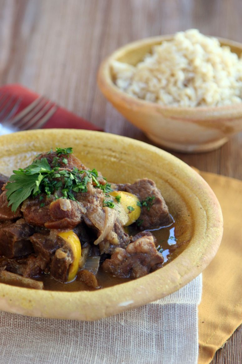 Moroccan Heart Stew: Beef muscle and heart meat slowly cooked with spices,  lemons and apricots.