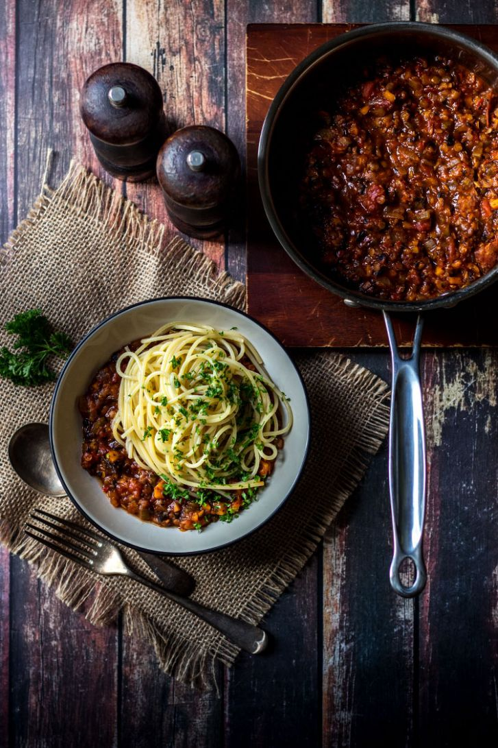 Mushroom and lentil vegan spaghetti bolognese | Quite Good Food
