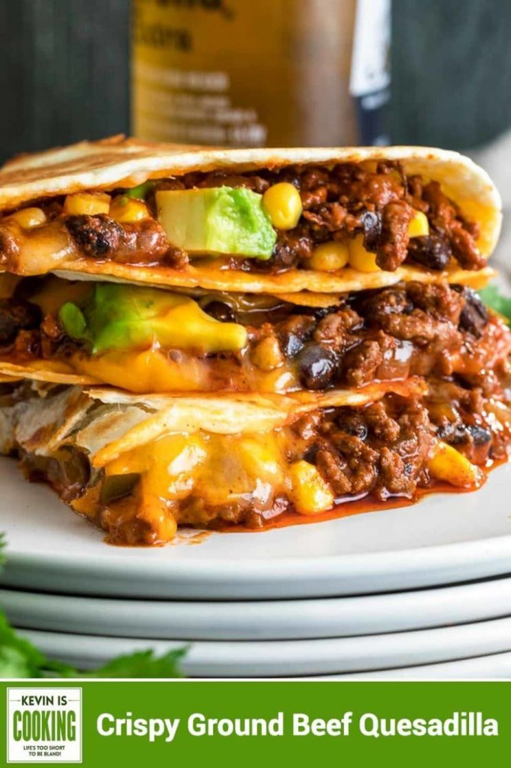 My Crispy Ground Beef Quesadillas are filled with melted Queso ..