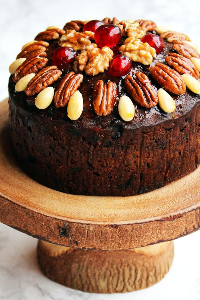 Naked Christmas Cake with Glazed Nuts and Cherries - Recipes Using Xmas Cake