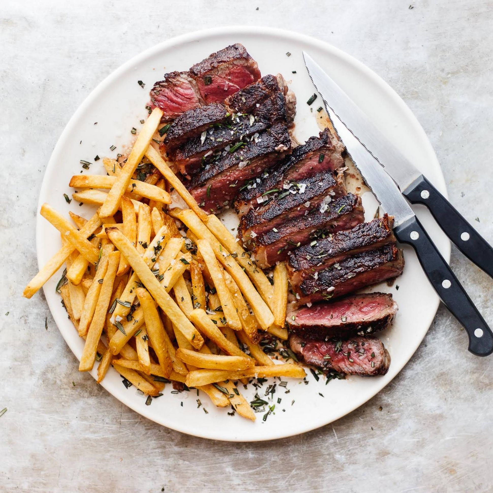 New York Strip Steak Frites with Rosemary Flake Salt