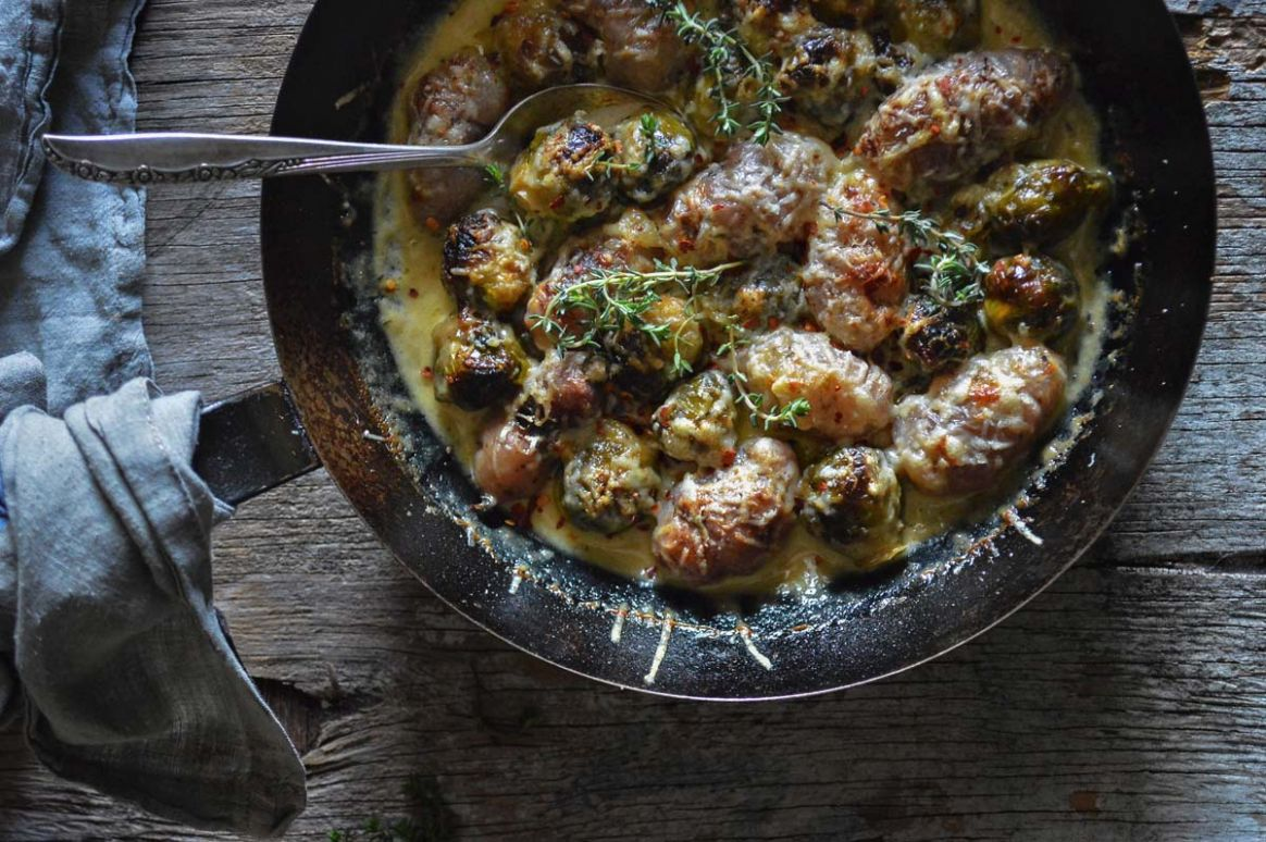 NZ yam & brussels sprout gratin
