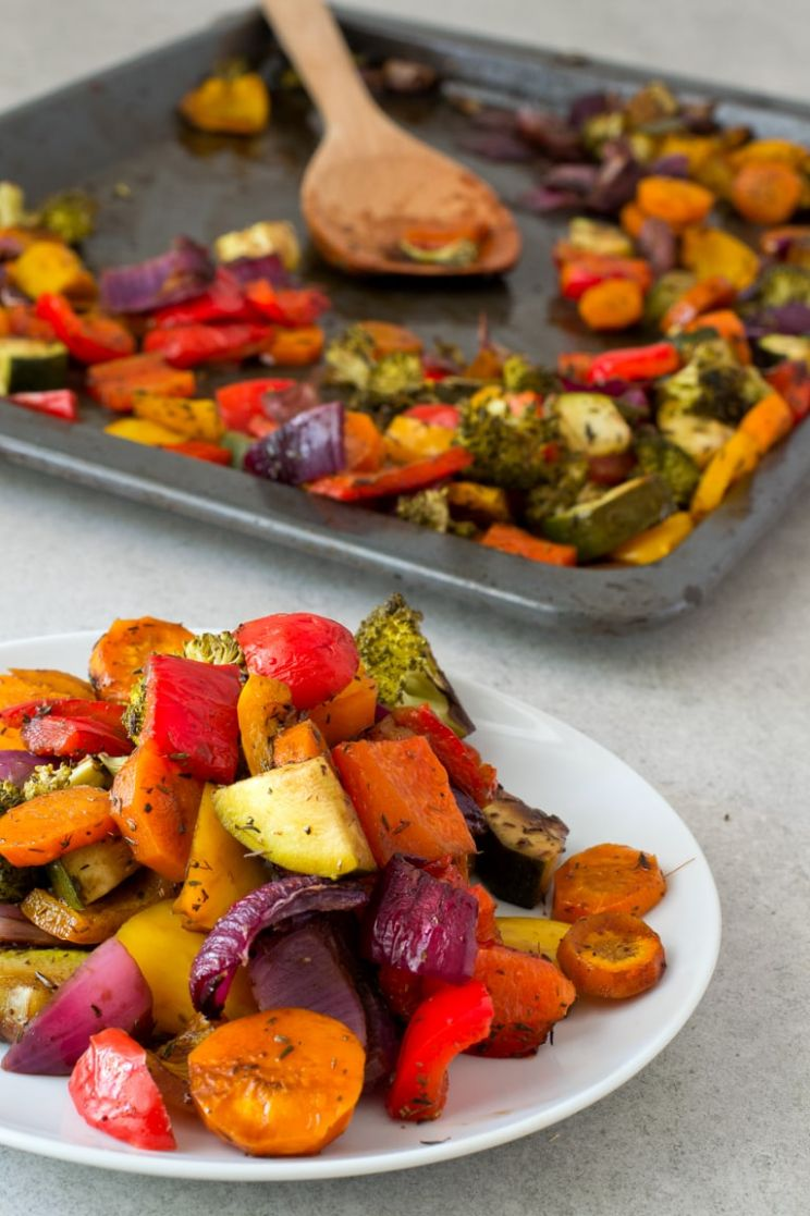 Oil Free Rainbow Roasted Vegetables - Vegetable Recipes Yummy