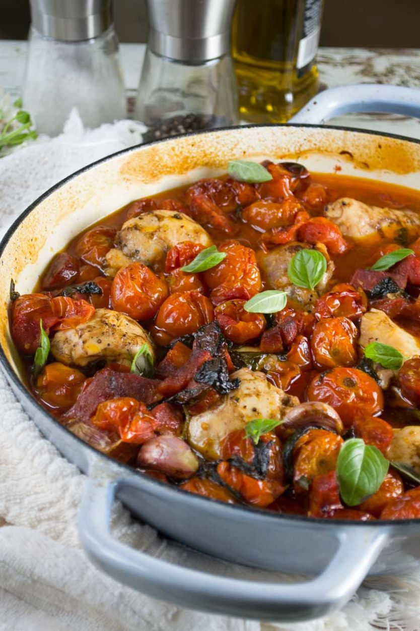 One-pan baked chicken and chorizo with cherry tomatoes