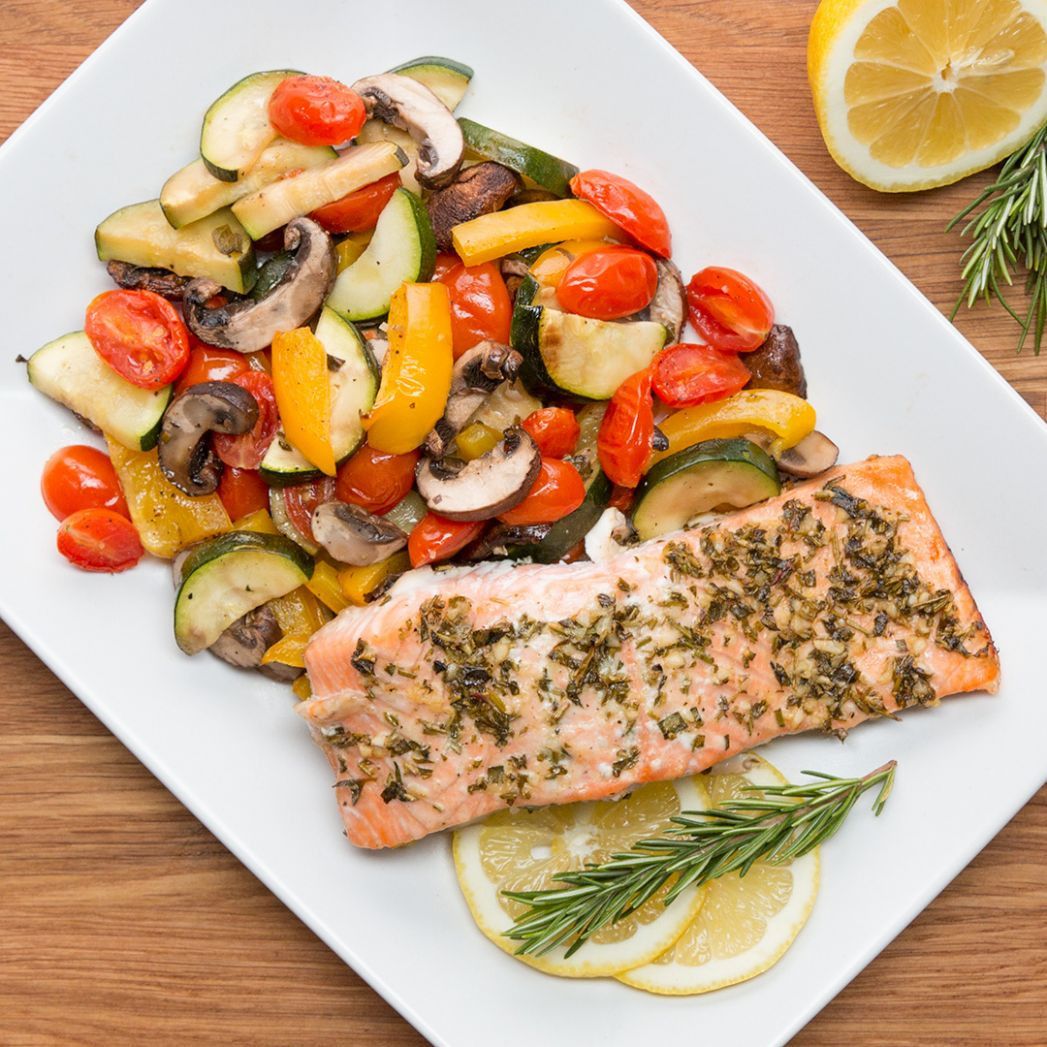 One-Pan Lemon Herb Salmon & Veggies Recipe by Tasty - Vegetable Recipes Tasty