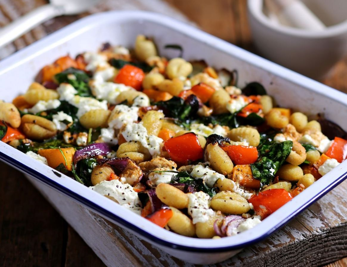One Pan Roast Gnocchi with Squash, Sheep's Cheese & Spinach