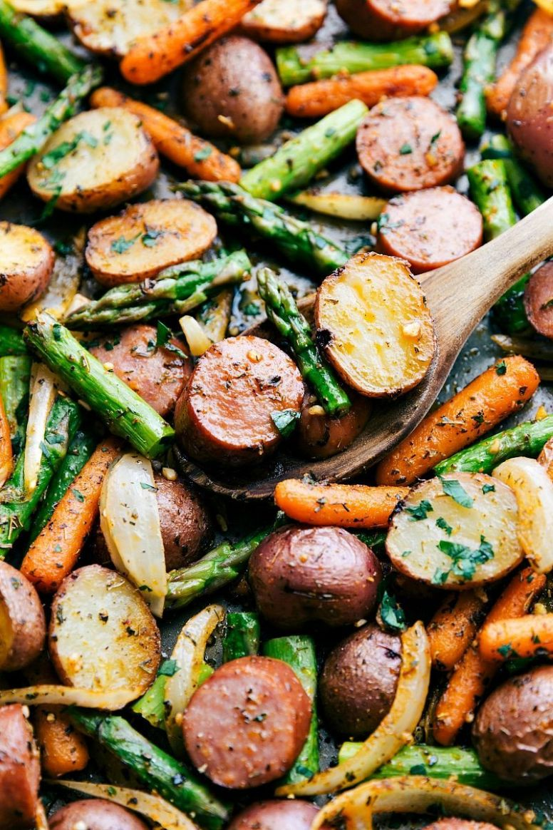 One Pan Roasted Potatoes and Sausage