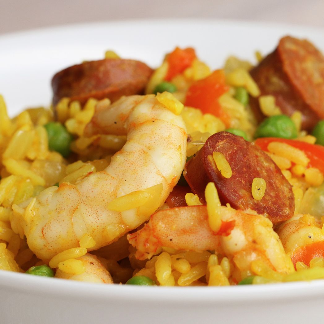 One-Pan Spicy Prawns and Rice Recipe by Tasty