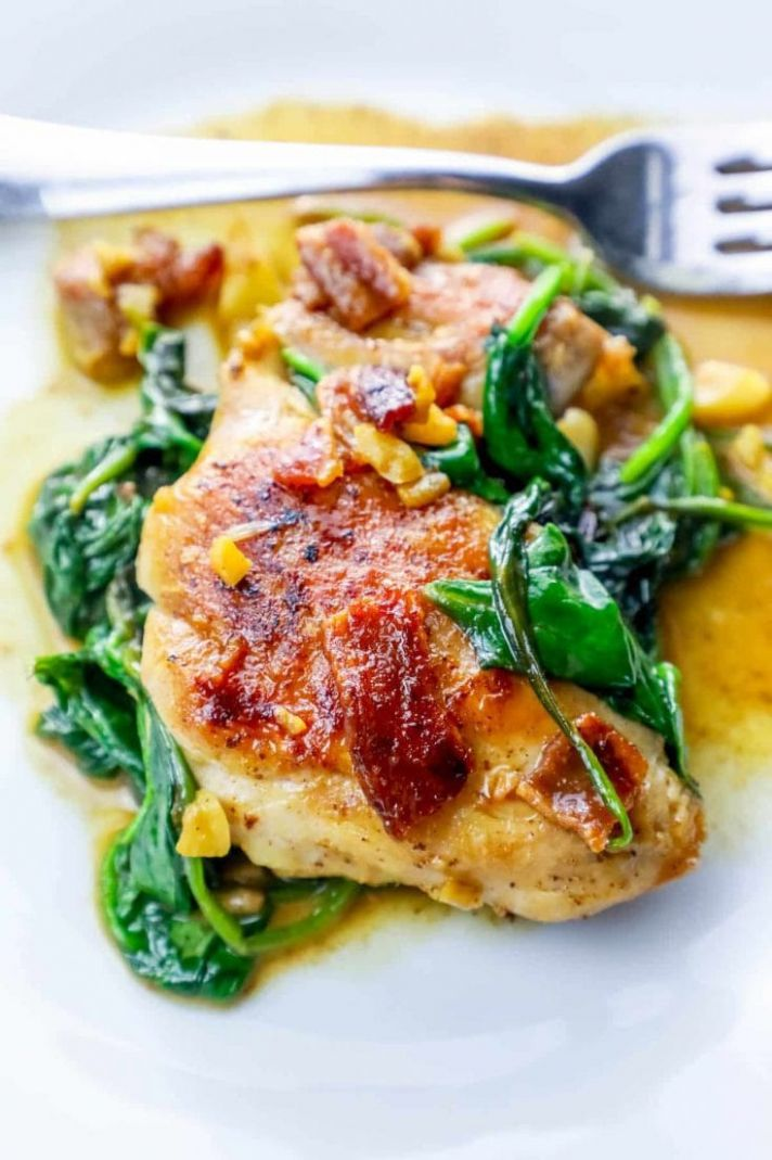 One Pot Bacon Garlic Chicken and Spinach Dinner - Recipes Chicken Breast And Spinach