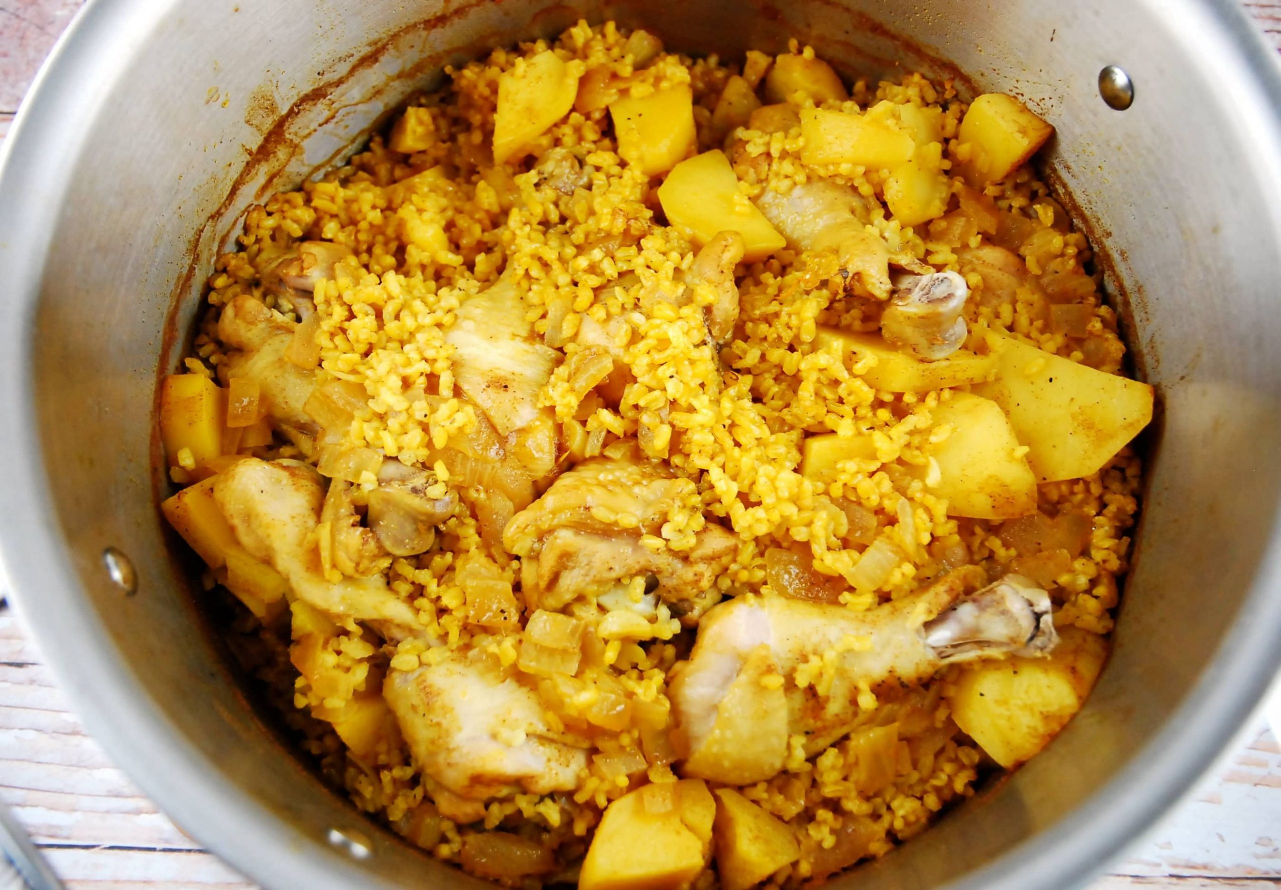 One Pot Moroccan Chicken Rice and Potatoes