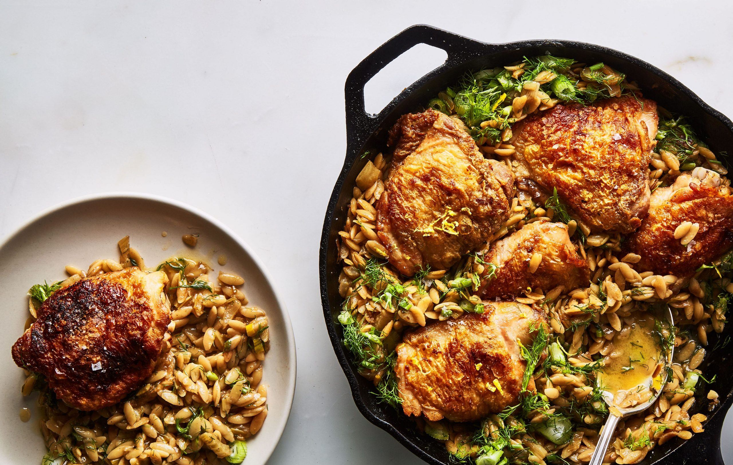 One-Skillet Chicken with Buttery Orzo - Summer Recipes Chicken Thighs