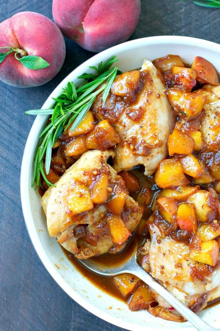 One Skillet Peach Glazed Chicken - The Seasoned Mom - Recipes Chicken With Peaches