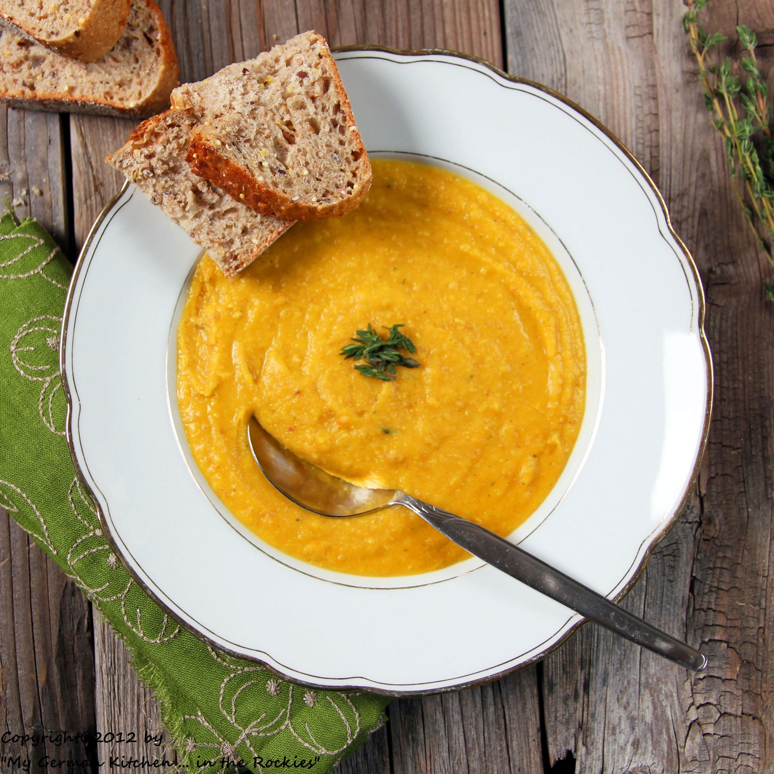 Organic Yellow Split Pea Soup with Bacon and Thyme - Soup Recipes Yellow Split Peas