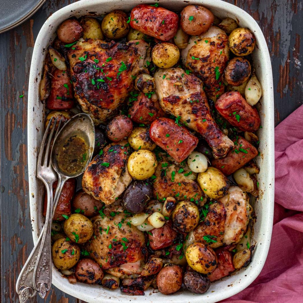 Oven Roasted Chicken, Sausage and Potatoes - Olivia's Cuisine