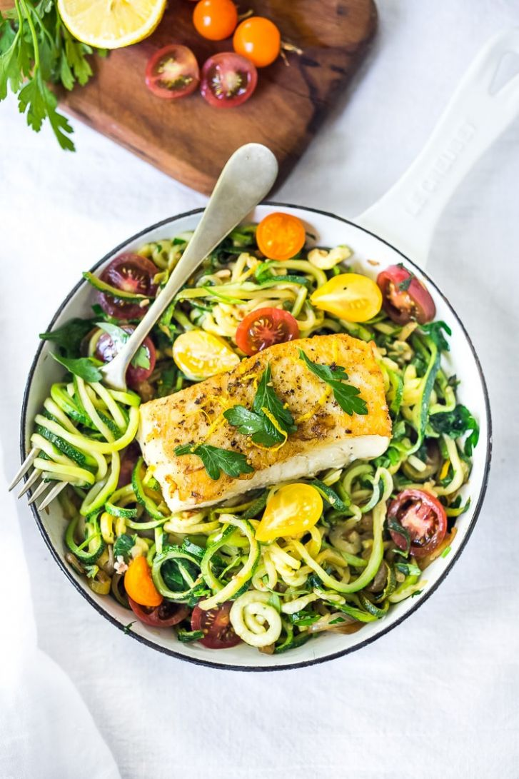 Pan-Seared Halibut with Lemony Zucchini Noodles | Feasting At Home