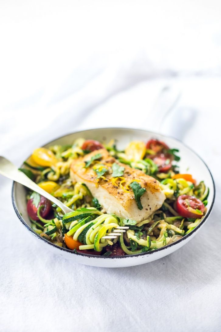 Pan-Seared Halibut with Lemony Zucchini Noodles | Feasting At Home - Fish Recipes With Zucchini