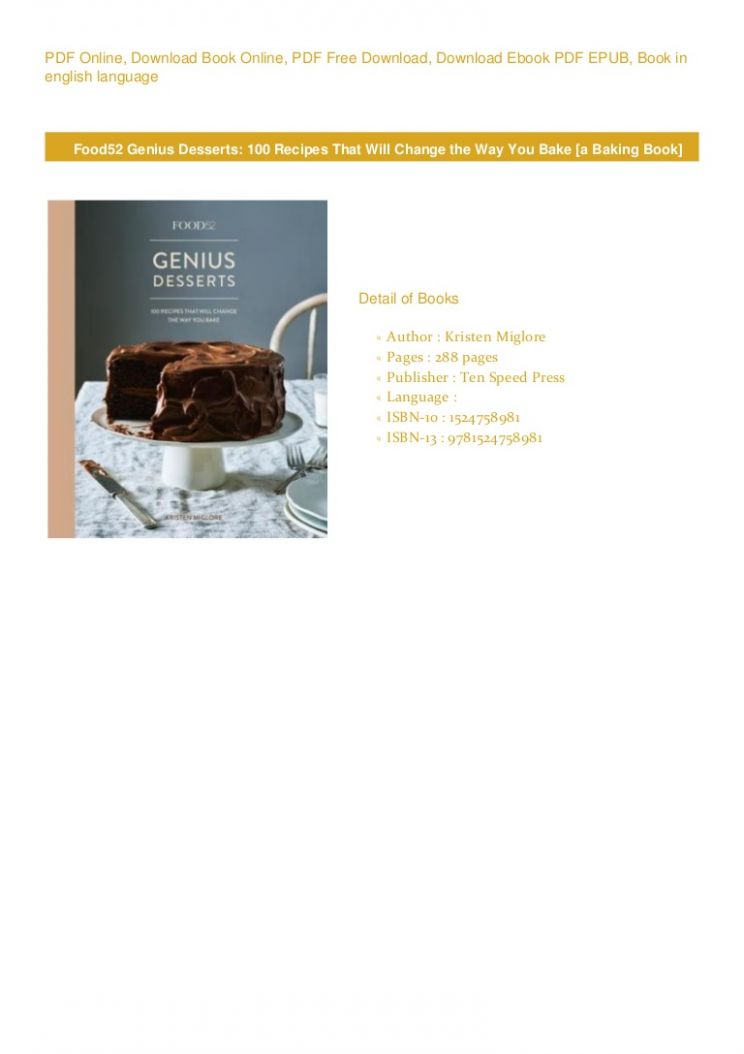 PDF BOOK FREE DOWNLOAD Food9 Genius Desserts: 9 Recipes That Will … - Dessert Recipes Pdf Free Download