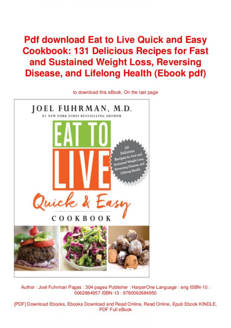 Pdf download Eat to Live Quick and Easy Cookbook: 11 Delicious Recip… - Recipes For Weight Loss Pdf