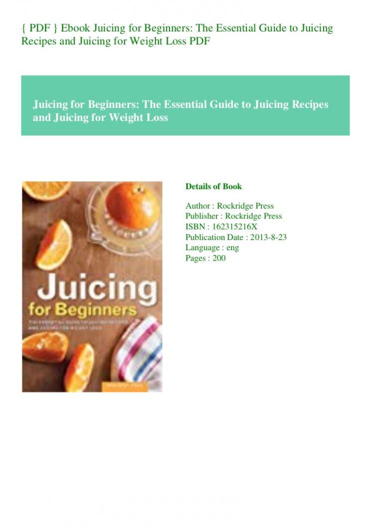 PDF } Ebook Juicing for Beginners  Essential Guide to Juicing Re… - Weight Loss Juice Recipes Pdf