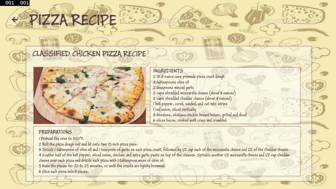 PDF) PIZZA RECIPE WINDOWS FRAME