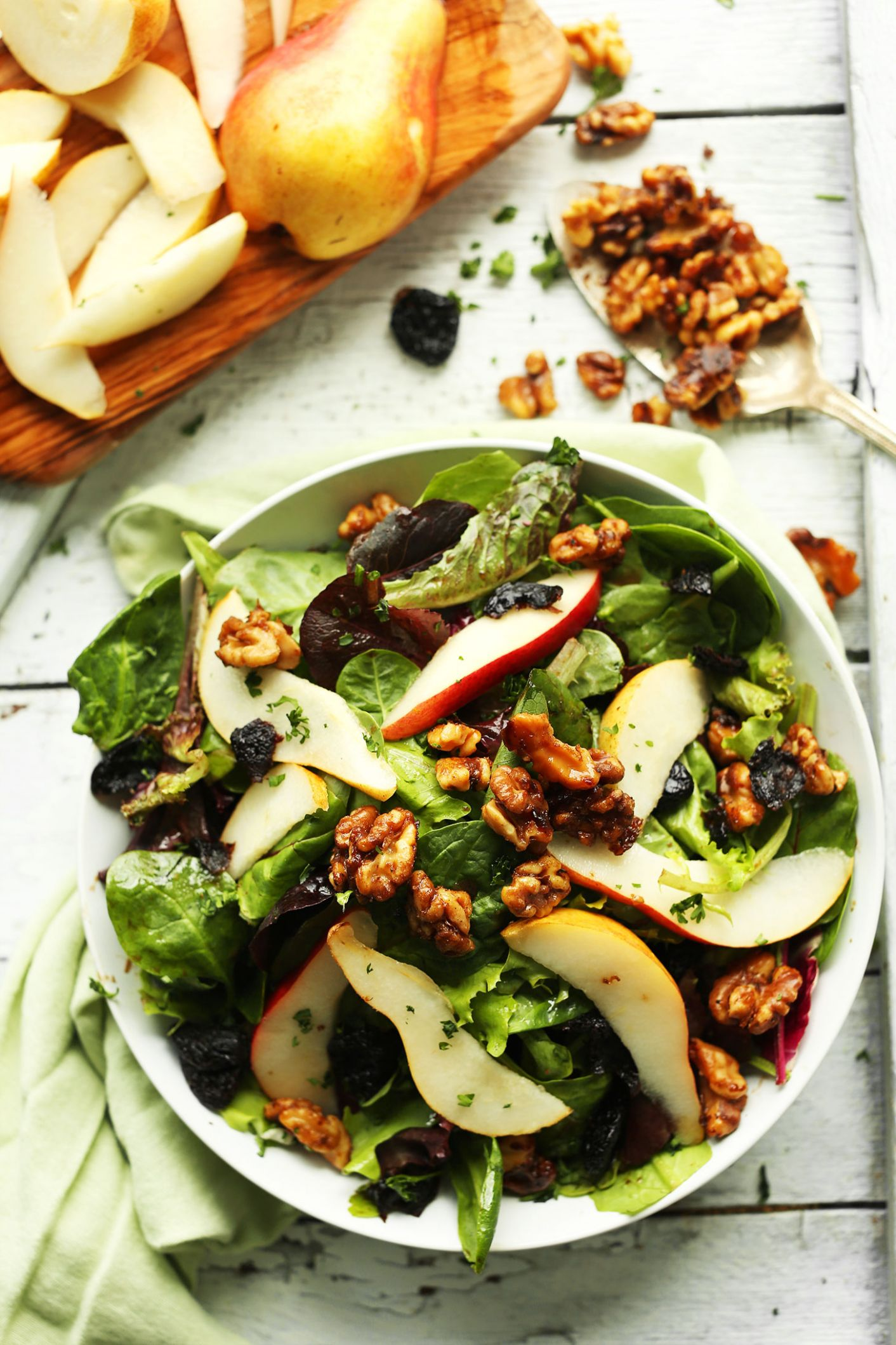 Pear Balsamic Salad with Dried Cherries and Candied Walnuts - Salad Recipes Gluten Free