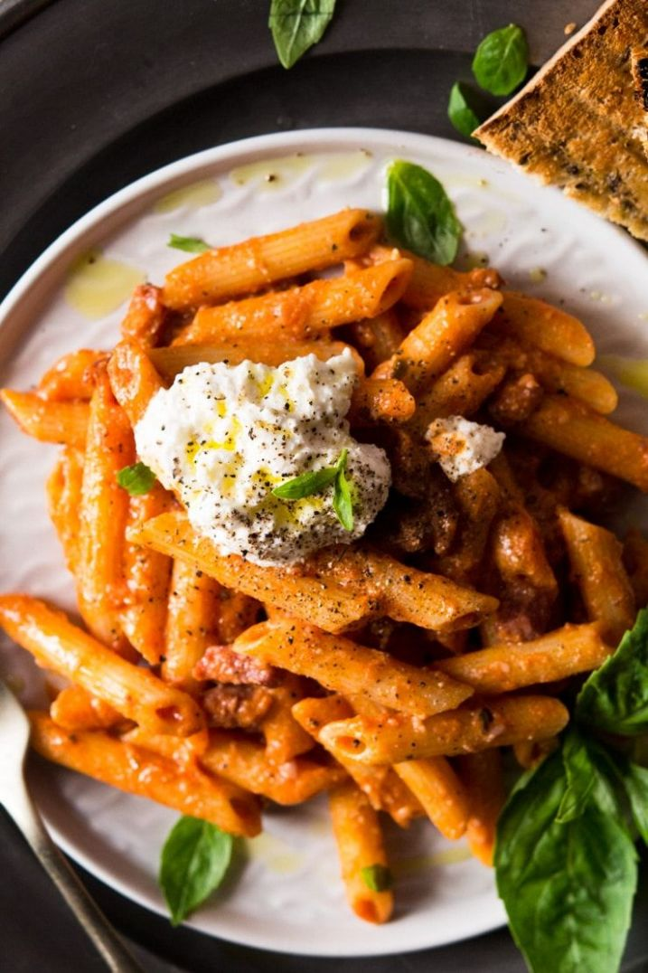 Penne Pasta with Ricotta and Tomato sauce - Pasta Recipes Using Ricotta Cheese